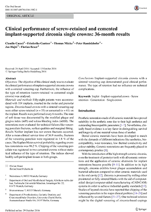 Clinical performance of screw-retained and cemented implant-supported zirconia single crowns: 36-month results
