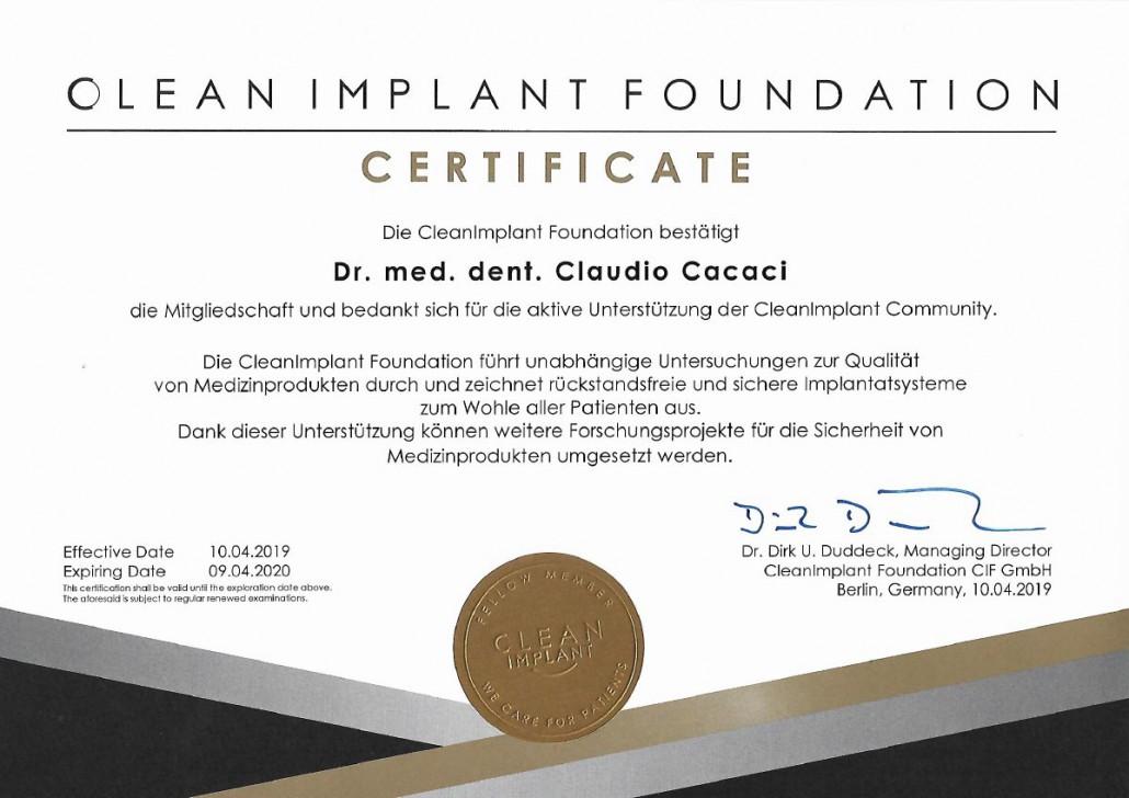 Clean Implant Foundation Urkunde