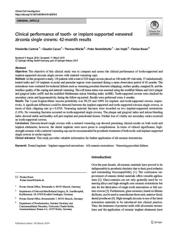 7 Jahre-Beobachtung: Stabile konische Implantat-Abutmentverbindungen