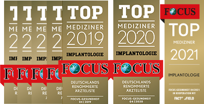Focus Ärzteliste Top Mediziner Implantologie 2015-2021